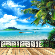 3 d wall wallpaper painting landscape balcony window stickers hotel sticky murals from the sitting room background