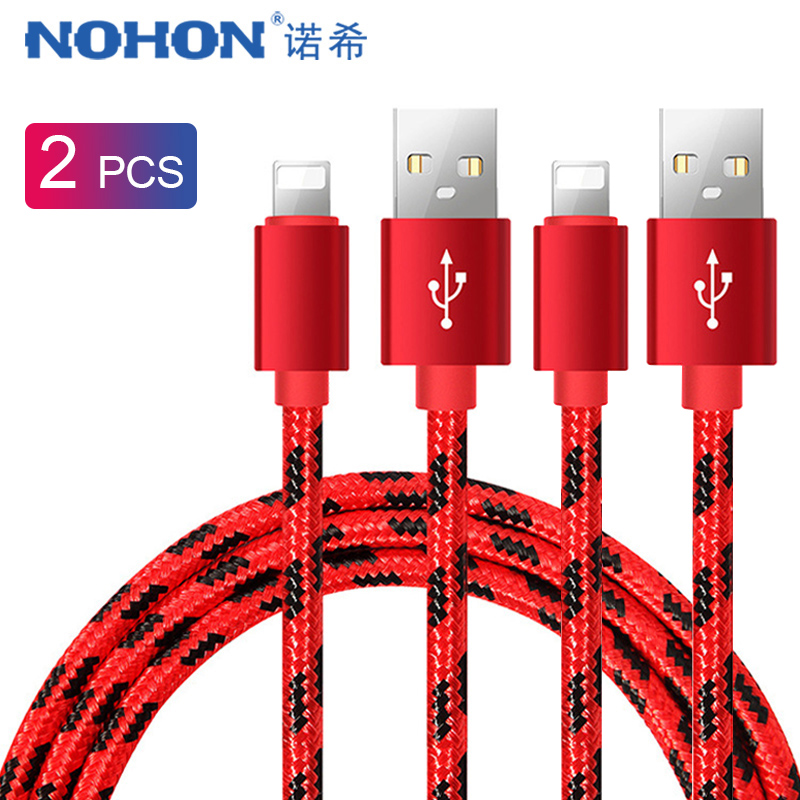 NOHON 2PC USB Fast Charging Data Cable For Apple iPhone XS MAX XR X 7 6 8 6S 5S 5 Plus iPad Mini Pin Phone Charge Cord