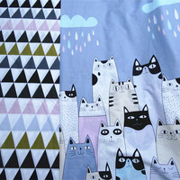 Zy diy sveglio largo 100x235 cm cartoon raining cat & forme geometriche stampato tessuto di cotone quilting biancheria da letto abbigliamento diy cucito
