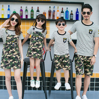 Family Matching Outfit Mother Daughter Strap Dress Father Son Striped Set Clothes Kids Casual Camouflage 2pcs Set Family Clothes