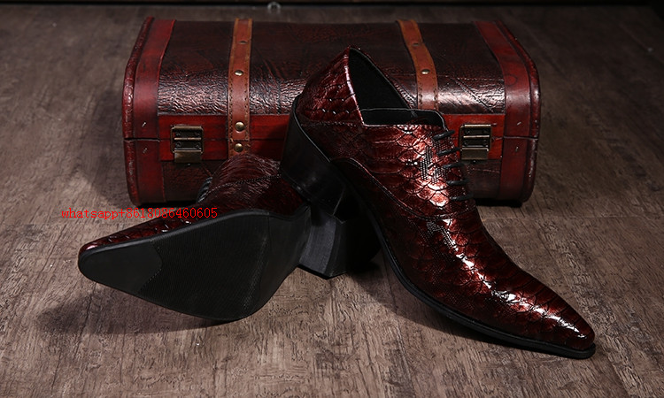 Mens shoes high heels pointed toe dress shoes alligator shoes for men patent leather formal shoes black loafers mocassin homme