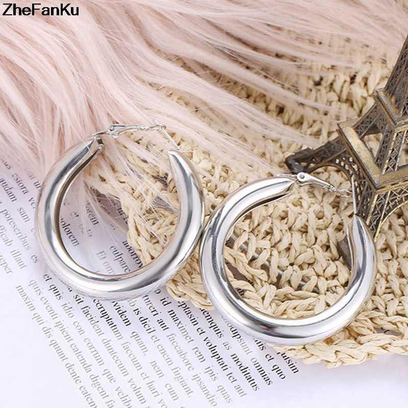 50 MM grandes aros de oro pendientes minimalista tubo redondo grueso Círculo anillos pendientes para mujer aleación de Zinc moda Hiphop Rock