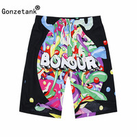 GONZETANK 2017 Summer Men High Waisted Beach For Bermuda Sweat Casual Jogger Cargo Printing Movement Shorts