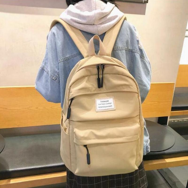 College Teenager School Bags for Girls Large Oxford Waterproof Backpack Women Book Bag Big Teen Schoolbag Khaki Leisure 2019 New