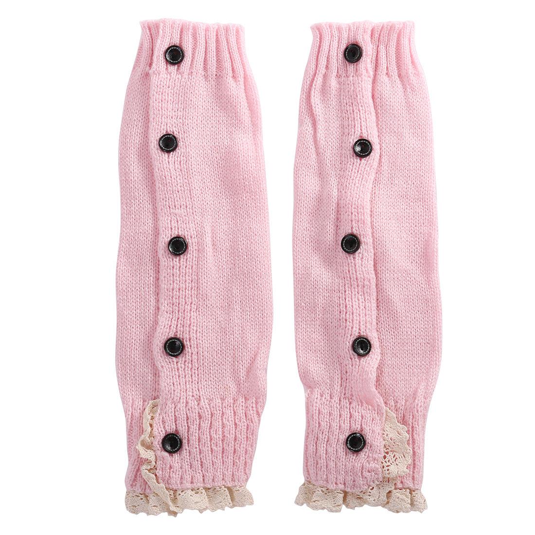 Новинка года; брендовые вязаные гетры в рубчик с кружевными оборками для маленьких девочек и подростков; гетры; 8 цветов - Цвет: Розовый