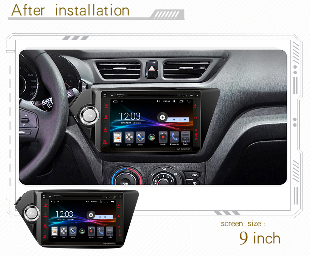 4G LTE Android 8.1 car gps multimedia video radio DVD player in dashboard for Kia K2 rio ceed 2011 2015 year navigation stereo