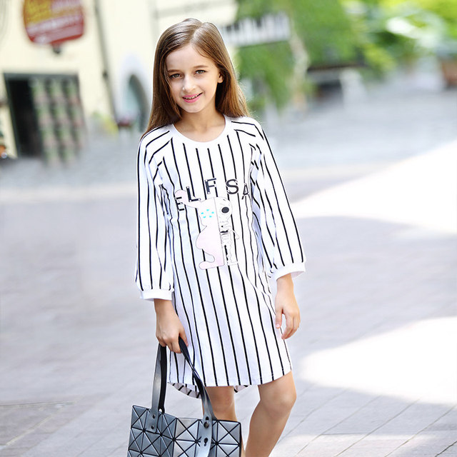 fashion teen girls halloween costumes dress striped skull alien cartoon characters frocks age5 6 7 8