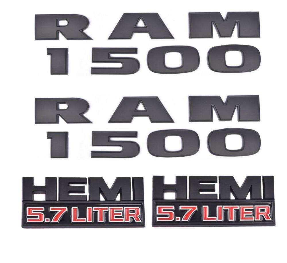 4x OEM RAM 1500 plus 5.7 Hemi emblèmes Badge 3D emblème décalque noir mat pour Dodge