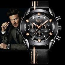 d76088b72b6 Homens Relógio Marca LIGE dos homens À Prova D  Água Esportes de Quartzo  Relógios de