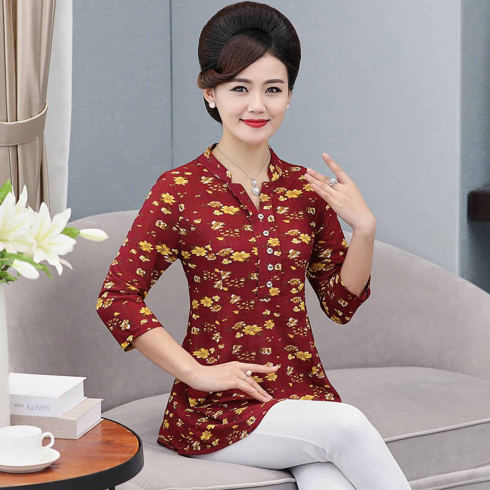 女性の花シフォンブラウス 3 分袖クレープトップ女性ペプラムチュニック赤グリーンプリントシャツプラスサイズブラウス女性シャツ