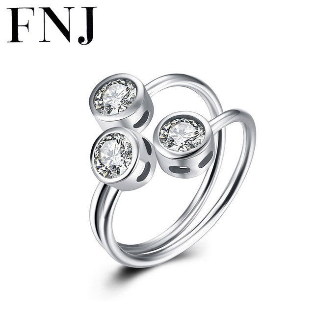 FNJ Ring 925 Silver Round Cubic Ziconia 100% Real S925 Sterling Solid Open Size Silver Rings for Women Jewelry KR23