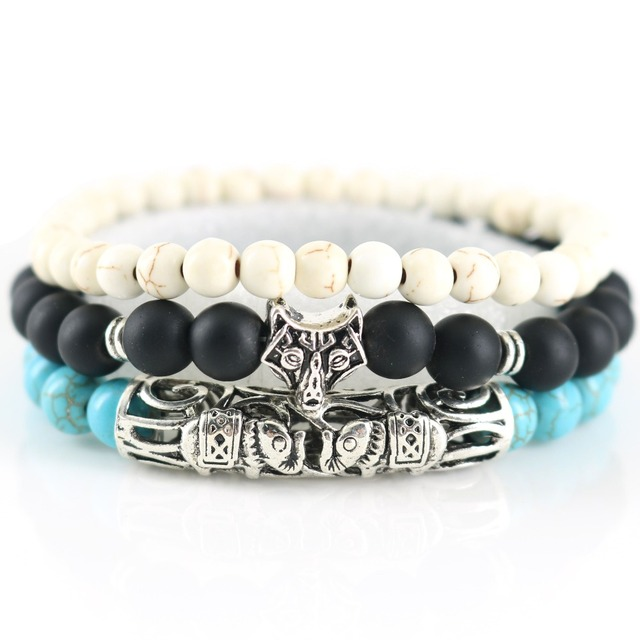Top Fashion Men Yoga Jewelry Whole 8 Mm Matte Black Beads Elephant Charm Bracelet Boy