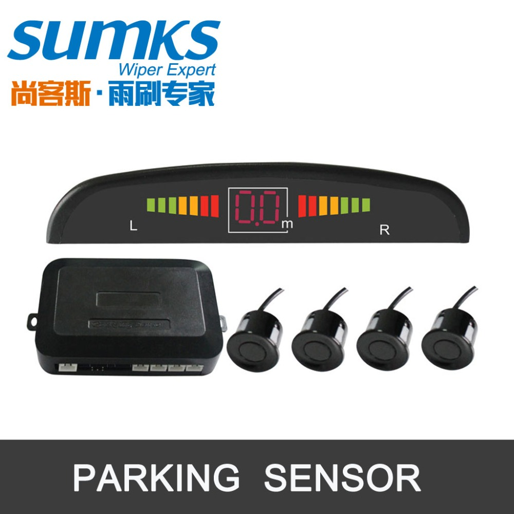 imágenes para Buzzer asistencia de aparcamiento con 4 sensores y pantalla LED Radar de Reserva Reverso Del Sistema Indicador De Alerta 7 colores para elegir