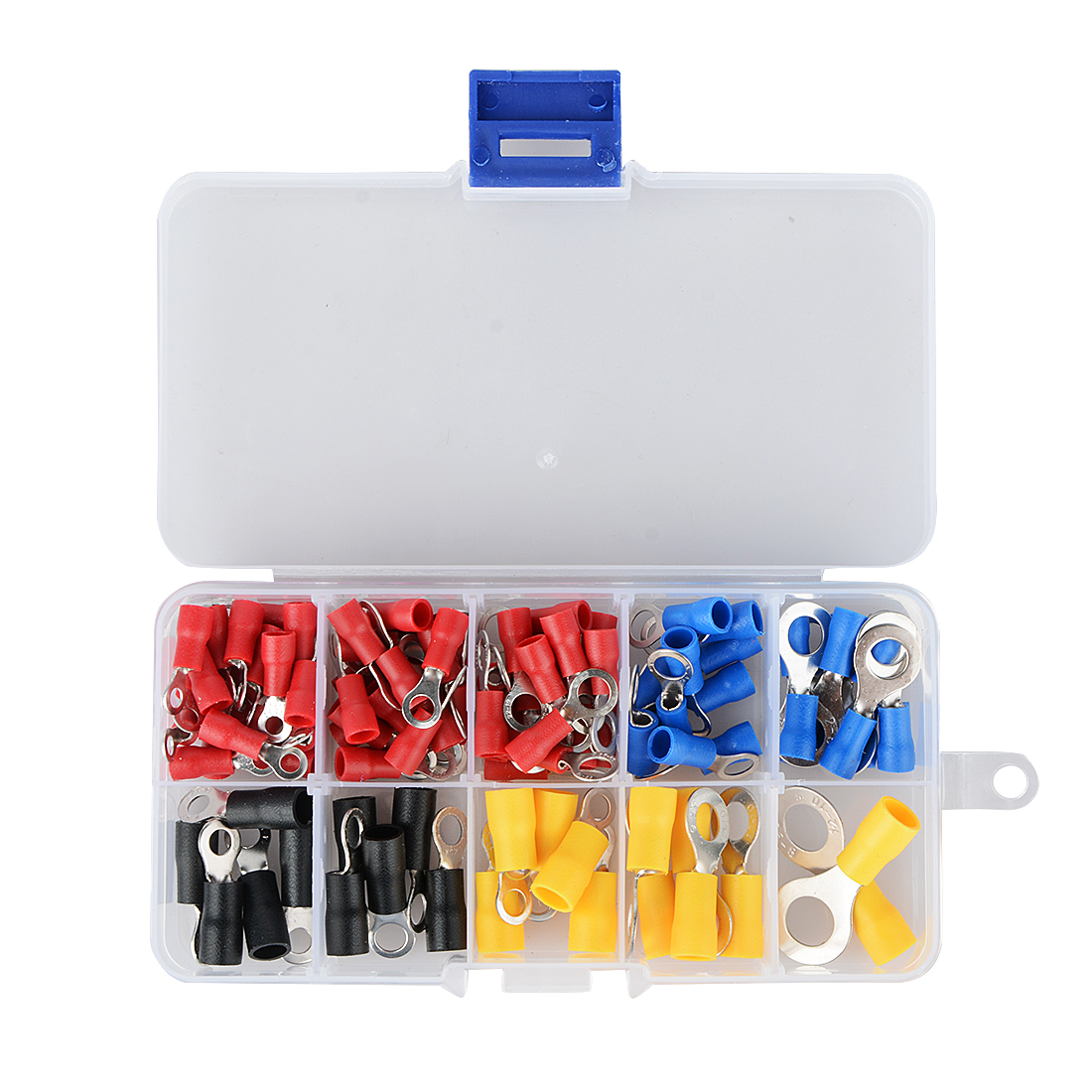 (102 Pcs 10 Arten Rv) Ring Terminal Elektrische Crimp Stecker Kit Set Mit Box, Kupfer Draht Isolierte Cord Pin End Butt