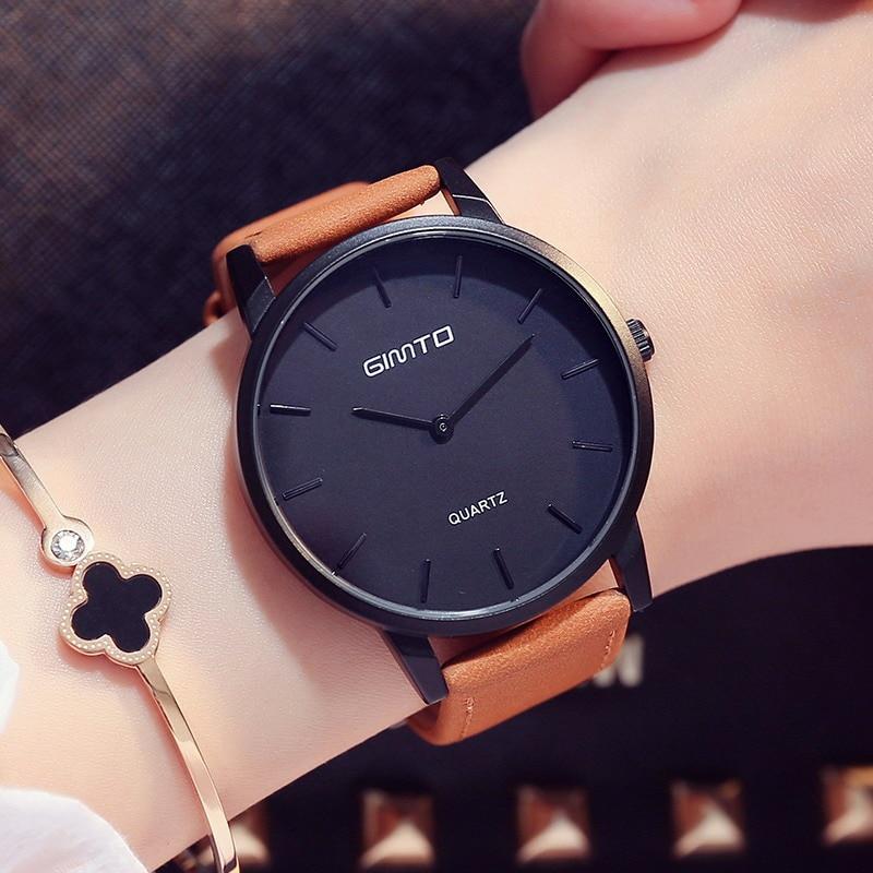 GIMTO Simple Women Watches Retro Vintage Male Female Wristwatch Leather Fashion Girl Lovers Watch Quartz Clock