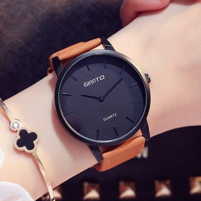 GIMTO Simple Women Watches Retro Vintage Male Female Wristwatch Leather Fashion Girl Lovers Watch Quartz Clock Relogio Montre