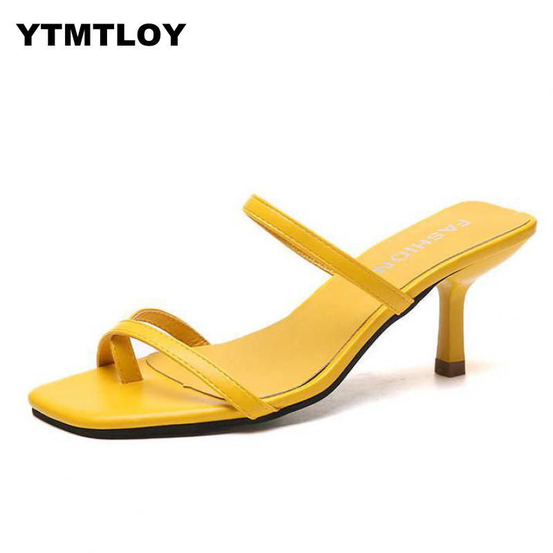 White High Heels Sandals For Summer Narrow Band Heel Vintage Square Toe Concise Ladies Shes Party  Yellow Sandals  Gladiator