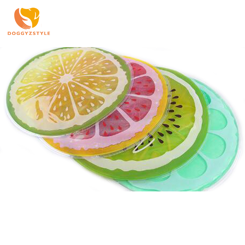 Summer Pet Dog Round Cartoon Fruit Rubber Mat Ice Pad Dog Cat Bed Pad Small Breed Hamster Rabbit Bed Pet Cage Mat DOGGYZSTYLE