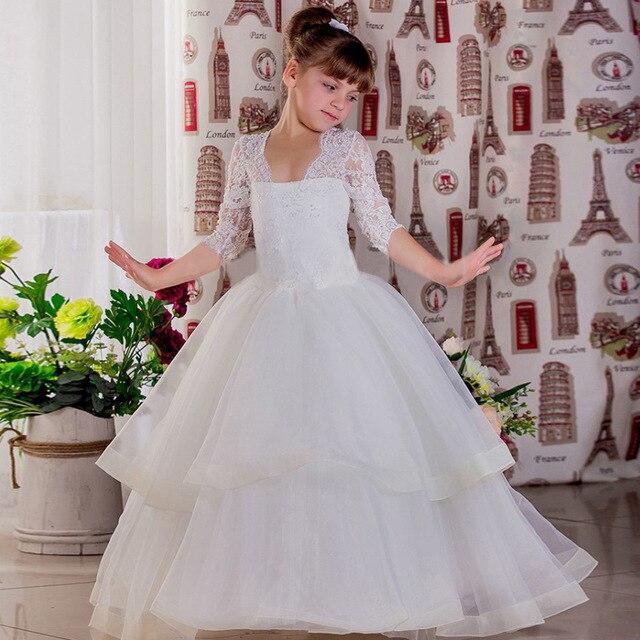 Simple White Long Flower Girl Dresses