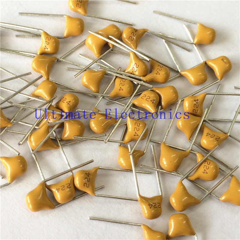 100pcs/lot  Multilayer Ceramic Capacitor 0.22uF 224 50V 220nF 224M P=5.08mm