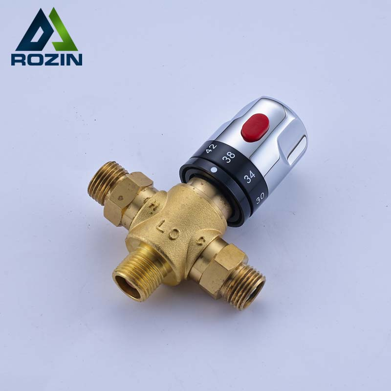 Free Shipping Thermostatic Valve Temperature Mixing Valve for Solar Water Heater Valve Chrome Constant Water MixersFree Shipping Thermostatic Valve Temperature Mixing Valve for Solar Water Heater Valve Chrome Constant Water Mixers