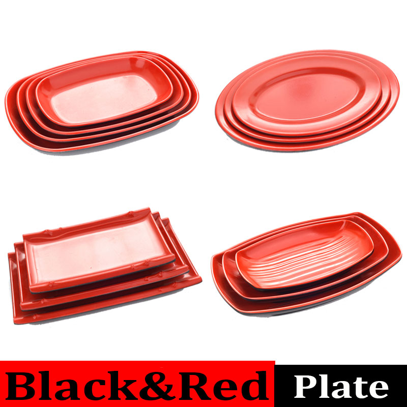 Melamine Oval Dish Plate Plastic Black Red Kitchen