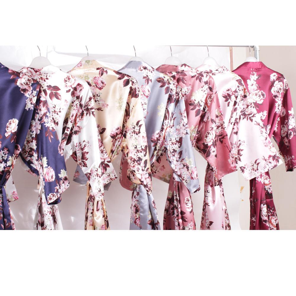 Floral Satin Robe Bridal Party Gift Robes Silk Robe Bridesmaid Robe Flower Girl Robe Short Solid Night Sleeping Robe A2350