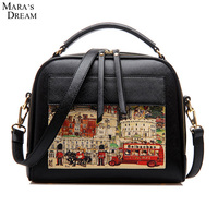 Mara S Dream Women Bag PU Leather Casual Oil Picture Pattern Double Zippers Women Shoulder Crossbody