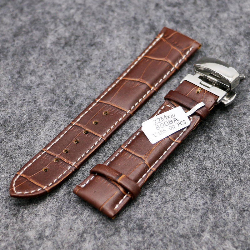 Elegant Dark Brown 18/20/22MM Genuine Leather Watch Stainless Steel Push Button Hidden Clasp Strap Band For Smart Watches