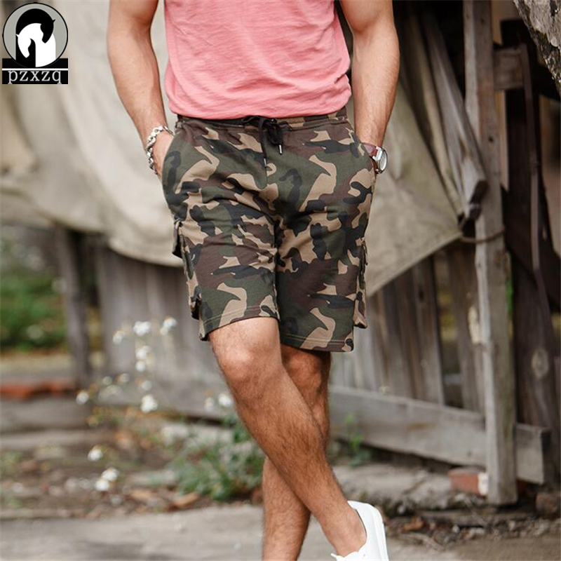 2018 New 100% Cotton Men Summer Camouflage Cargo Shorts Mens Military Pocket Trousers Elastic waistline Casual Man Short Pants
