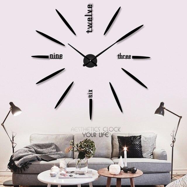 US $25.9 |Grande DIY Orologio Da Parete Design Moderno Acrilico Orologi  Specchio per Soggiorno Decorativo Grande Orologio Da Parete Home Decor ...