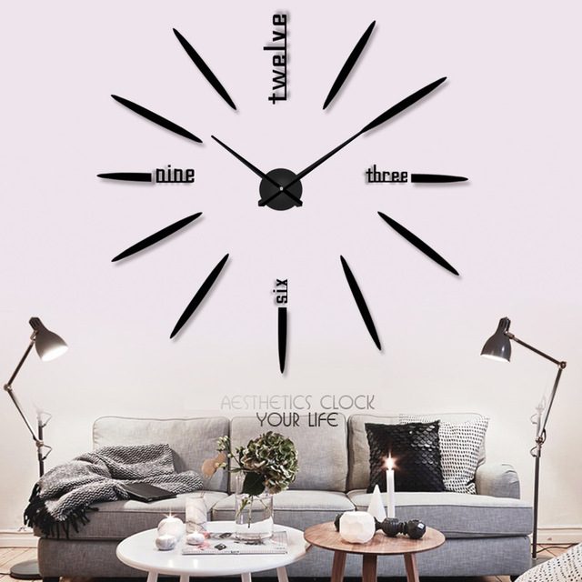 Large DIY Wall Clock Modern Design Acrylic Mirror Clocks For Living Room  Decorative Big Wall Watch