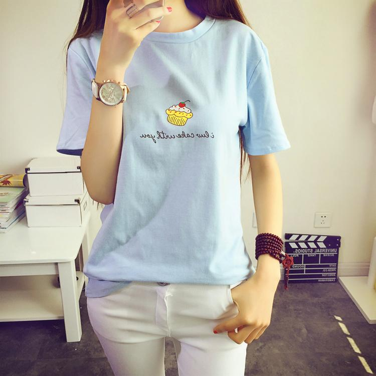 2015 College Wind Korean Fan cute little cake round neck loose short-sleeved T-shirt
