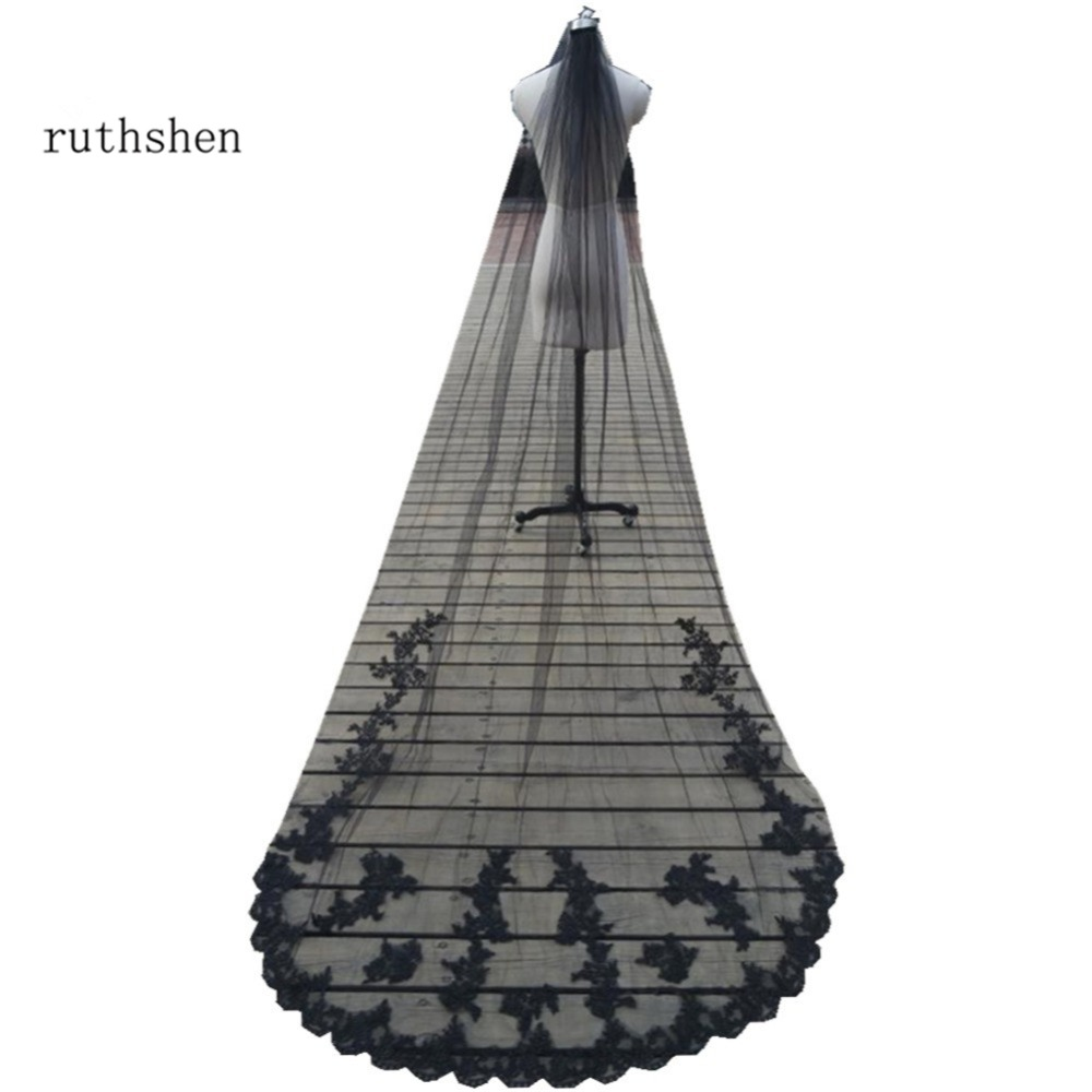 ruthshen Unique Whtie  Ivory  Black Wedding Veils Lace Applique Chapel Length Wedding Accessories With Comb Custom Made 2018