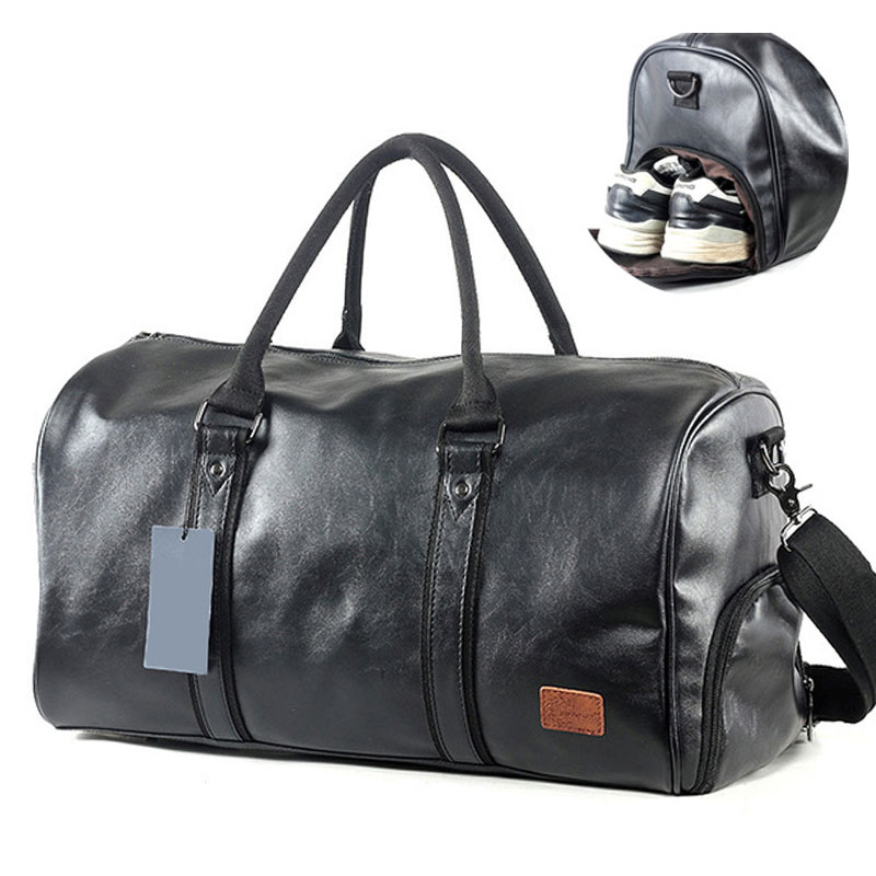 Men's PU Leather Gym Bag Male Big Sports Bag For Fitness Men Women Handbags Training Shoulder Bag With Shoes Pocket Sac XA674WD