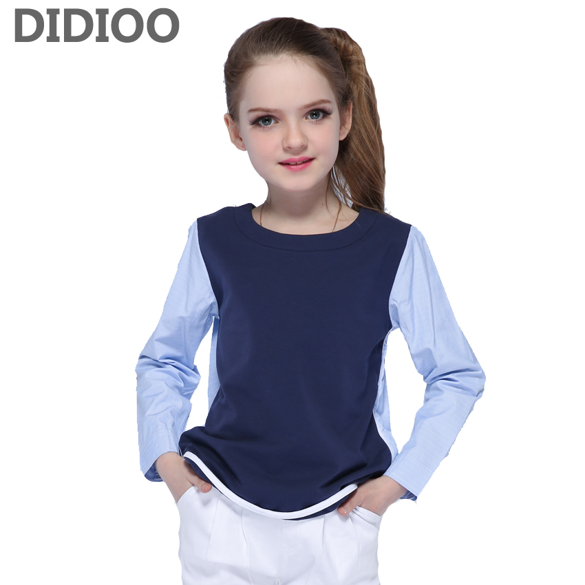 Children Shirts for Girls Blouses O-neck Patchwork Cotton Tops for Kids Clothes Infant Clothing 4 6 8 9 10 12 Years Girls Shirts все цены