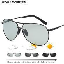 Pueblo de Montaña Fotosensibles HD gafas de Sol Polarizadas de Los Hombres de Moda Al Aire Libre Deporte Gafas Unisex Retro Gafas De Sol Oculos 8013