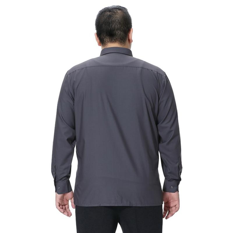 Mens Wedding Dress Shirt Solid Color Plus Size 5XL 6XL 7XL 8XL Long Sleeve Shirt Business Casual Shirts Work Wear Formal Slim