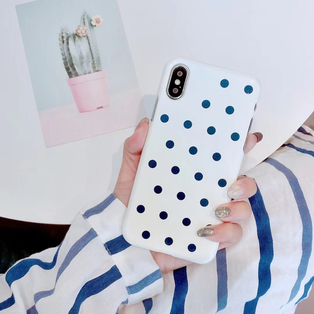 Cute Wave Point Phone Case For iPhone 8 Plus White black Ploka Dots UV Glossy Hard PC Back Cover For iPhone X 8 7 6 6S Plus Case