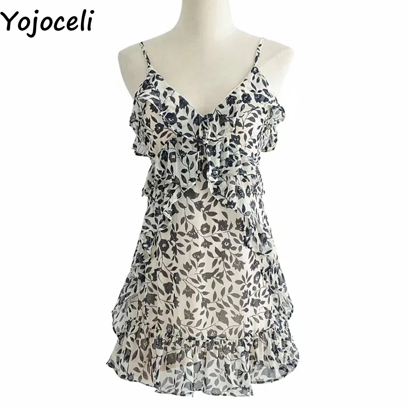 Cuerly Sexy ruffle print short strap sundress Summer chiffon women casual beach dress Party daily mini elegant dress vestidos in Dresses from Women 39 s Clothing