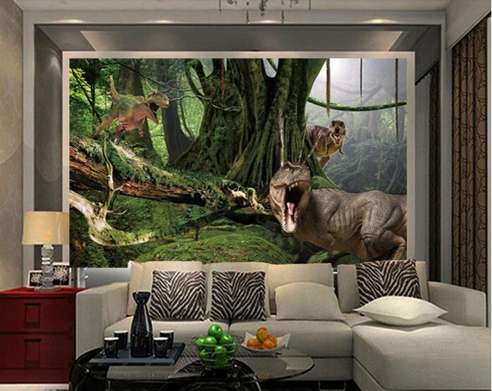 3d wallpaper custom mural nonwoven wall sticker 3d jurassic dinosaurs forest park painting photo