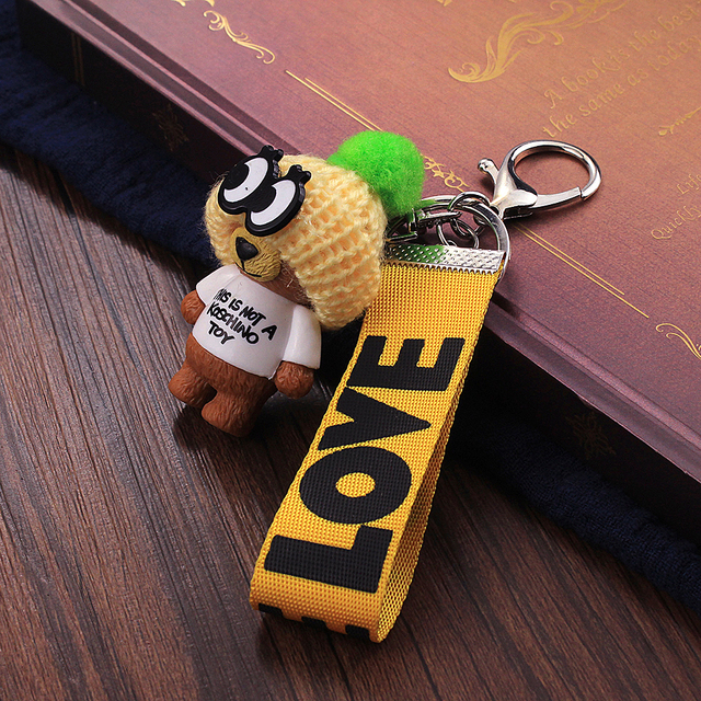 Vicney New Arrival Cute Teddy Bear Key Chain'THIS IS NOT A KOSCHINO TOY'Bear KeyChain Animal Pattern Key Holder For Girl Friend 5