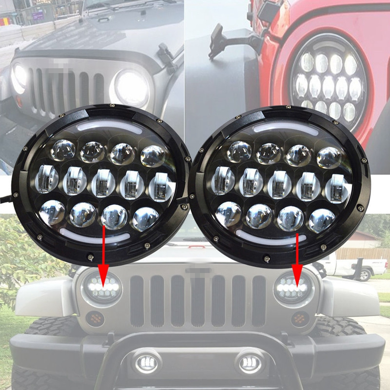 TNOOG DOT E9 7 inch 105w Round LED Headlight with DRL High Low Beam Led Chip for JEEP Wrangler UAZ Hunter Lada 4x4 urban