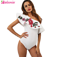 2017 One Shoulder Flower Embroidery Ruffle Top Summer Sexy Bodysuit Women Black White Skinny Body Top
