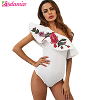 One Shoulder Embroidery Ruffle Top Summer Sexy Bodysuit Women Black White Skinny Body Top Elegant Body Suit Combishort Femme