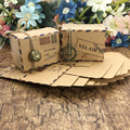 50 pcs Vintage Favors Kraft Paper Candy Box Travel Theme Airplane Air Mail Gift Packaging Box Wedding Souvenirs scatole regalo