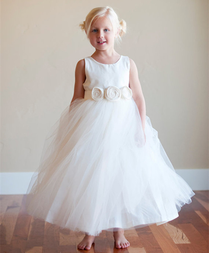 Hot Summer Style Pageant Dresses for Little Girls White or Ivory Flower Girl Dress Ankle Length Floral Sash First Communion Gown hot sale custom cheap pageant dress for little girls lace beaded corset glitz tulle flower girl dresses first communion gown