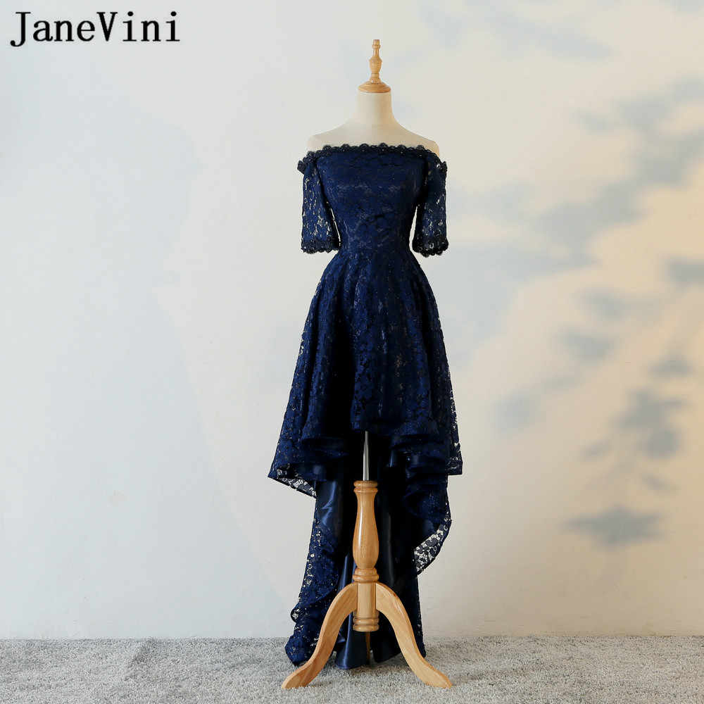 83199d1608 JaneVini Navy Blue High Low Bridesmaid Dresses Beaded Short Front Long Back  Lace Off Shoulder Girls