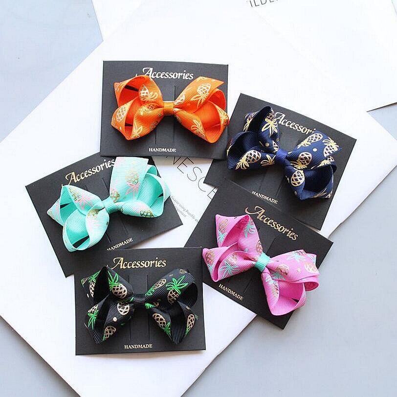 New 8CM Gold thread printed Ribbon bows hair clip grosgrain hair bow barrette for kids girls toddlers teens hair accessories Z43