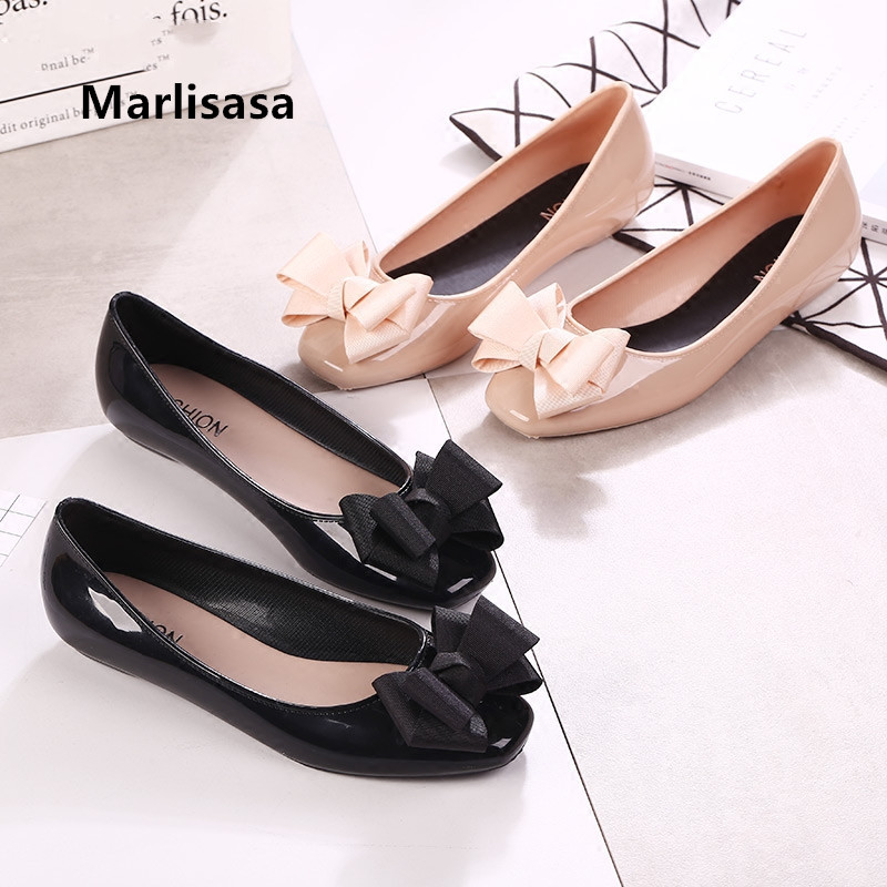 Marlisasa Women Cute Soft Bow Tie Black Jelly Shoes Lady Casual Dance Shoes Female Pink Shoes Zapatos Planos De Mujer F377